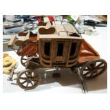 """Hand Crafted Wood Stagecoach (10"""" x 16"""" x 5""""), Wood Cowboy On Horse Wall Art (16"""" x 12""""), And Univer"""