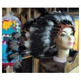 Native American Feathered Headdress With Beaded Leather Hat Band