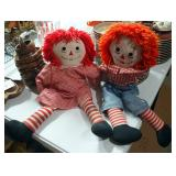 Vintage Soft Bodied Raggedy Ann And Andy Dolls