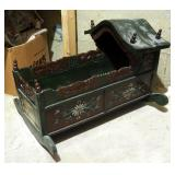 Painted Carved Wood Doll Cradle