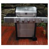 Kenmore Stainless Steel Propane BBQ Grill With Side Burner And KC Chiefs Grill Scarf, Includes Propa