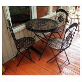 """Folding Metal Patio Table With 3 Matching Chairs 29"""" x 27.5"""" Round"""