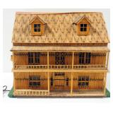 Tramp Art Matchstick 2-Story House, Roof Opens To See Interior, Illuminated, Powers On, 1,356 Matche
