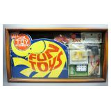 "Vintage ""The Toyhouse"" Fun Toys Sampler Display Box, Includes Squirt Guns, Puzzle, Airplane And Scat"