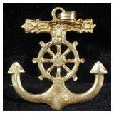 Gold Anchor Pendant Marked 14k