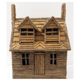 "Miniature Log Cabin, Handmade, Front Door Swings Open, Base Structure Is A Crate, Approx 22"" High x"