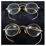Vintage Eyeglass Collection, Quantity 5, 1 Marked 12K GF, 3 Marked 1/10 12K GF, And 1 Unmarked