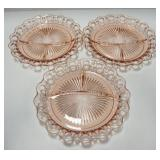 Depression Glass Relish Trays, Qty 3