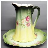Floral Design Ceramic Pitcher With Matching Tray