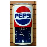 "Pepsi Can Dimensional Wall Clock, 12.5"" Wide x 24"" High x 6.5"" Deep"