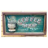 "Hand Painted ""Coffee Shop"" And ""Fresh Brewed Coffee"" Wood Signs, 1 With Dimensional Cup, 22.25"" W x"