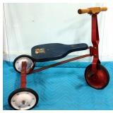 Vintage Steel Tricycle With Wood Seat And Handlebars