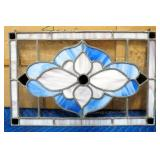 "Hanging Stained Glass Floral Image, 19.75"" W x 12.75"" H"