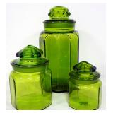 "Green Glass Canister Collection, All With Lids, Sizes Range 5"" High To 12"" High, Total Qty 5"