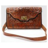 "Tooled Leather Purse With Zipper Sectional, 3 Total ""Pouches"""