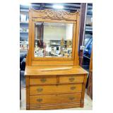 "Antique Dresser With 4 Drawers 31"" H x 48"" W x 21"" D, Pivoting Mirror 50"" H x 43"" W, Pin And Crescen"