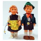 "Goebel M.J. Hummel Vinyl Poseable Dolls Of Boy And Girl, Approx 10.5"" Tall"