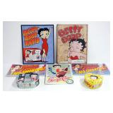 Betty Boop Collectibles, Includes Tin Wall Hanging Signs (Qty 5) And Tin Lunch Pails (Qty 2)
