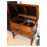 """Antique Solid Wood Record Cabinet 31"""" x 27.25"""" x 18.75"""" With Collaro Limited Record Turntable"""
