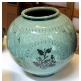 """Korean Celadon Pottery Glazed Bowl, 13.5"""" Tall, Mouth Measures 7"""", 14"""" Round, Matches Lot 15, See Lo"""