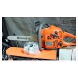 "Husqvarna Gas Powered Chain Saw Model 450 With 18"" Bar, 2-Cycle Engine Oil, Bar/Chain Lubricant, & X"