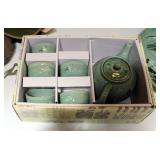 Korean Celadon Pottery Glazed Tea Set With Crane Motif, New In Box