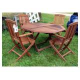 "B & Q Caspian Folding Wood Patio Set Including Table (29"" x 51"" x 51"") And 4 Folding Arm Chairs"