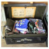 Vintage Military Footlocker Trunk With Tray, Contents Include Patches, Pins, And More