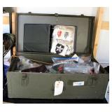 Vintage Military Footlocker Trunk, Contents Include Large Assortment Of Military Patches
