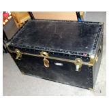 "Vintage Leather Bound Storage Trunk With Internal Tray, 20.5"" x 36.5"" x 20.5"""