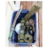 Anti Tank M72 A3 Rocket Launcher Model, Military Flashlights, Ear Muffs, Helmet Covers, Machete, Uti