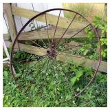 """53"""" Cast Iron Wagon Wheel And Primitive Plow"""