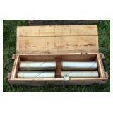 "Wood Artillery Box (8"" x 38"" x 12"") With Brass Mortar Shell Casings Qty 4"