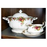"Royal Albert ""Old Country Roses"" China Serving Dishes Including Soup Tureen, Gravy Boat, 16"" Platter"