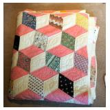 "Hand Quilted Tumbling Block Patch Quilt, Approximately 80"" x 68"""