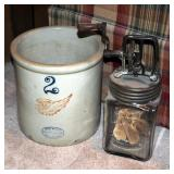 Red Wing 2 Gallon Stoneware Crock And Complete Dazey Glass Butter Churn Number 20