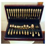 Austin/Wright Gold Plate Flatware Set In Felt-Lined Storage Case, Qty 89 Pieces