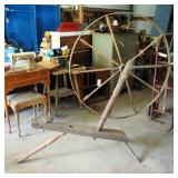 Antique Turned Wood Spinning Wheel, Wheel Measures 44""