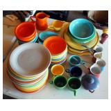 "Fiesta Stone Ware Dishes, Assorted Colors, Including 9.5"" Plates, Saucers, Dessert Bowls, Serving Pl"