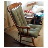 "Solid Turned Wood Rocking Chair With Cushion Set, 40"" x 23"" x 28"""