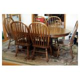 "Oval Solid Oak Double Pedestal Dining Table, 30"" x 68"" x 42"", With 2 18"" Leaves And Matching Chairs"