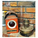 "Antique Railroad Caboose Lantern, Brass Aladdin Hurricane Oil Lamp Marked ""Nu-Type Model B"" With Wal"
