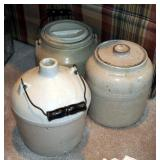 One Gallon Red Wing Jug With Wire Bail And Wood Handle And Stoneware Pickling Jars With Lids Qty 2 (