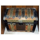 "Antique Camelback Storage Trunk With Stamped Metal Overlay/Hardware And Inner Tray, 21"" x 28"" x 17"""