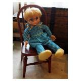 Vintage Mrs. Beasley Soft Body Doll And Antique Wood Toddler Chair