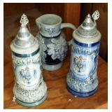 Hand Painted German Armin Bay Steins Qty 2, And Heidelberg Stoneware Pitcher