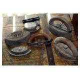 Antique Cast Iron Iron Assortment, Qty 4, Including Asbestos Sad Iron, Miss Potts Sad Irons, And Mor