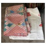 "Antique Hand Stitched Sunbonnet Sue Baby Quilt, Approximately 45"" x 56"", And Block Patch Quilt, Appr"