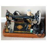Antique Portable Electric Singer Sewing Machine With Foot Pedal And Wood Carrying Case