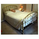 Queen Size Brass Bed With Marble Accents, Includes Sleep Number 7000 Select Comfort Mattress, Headbo